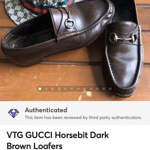 $679 VTG GUCCI Horsebit Dark Brown Leather Loafers